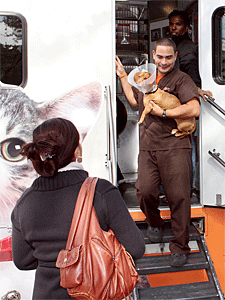 An ASPCA veterinary staff member returnes a dog to her family after spay surgery and vaccinations at the Fall Fiesta event in Central Park. (Photo by Stephanie Norris, ASPCA)