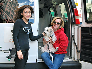 13,200 animals — like Bonito, shown here with Debbie Fierro from the Alliance and Martha Kamberis from Animal Haven — were transported to their new lives on our Wheels of Hope vans in 2015. (Photo by Krista Menzel)