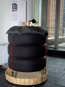 The crowd favorite community cat shelter on display at the fifth annual 'Architects for Animals: Giving Shelter' fundraiser to support the NYC Feral Cat Initiative was 'Re-Tire-Tent,' a multi-level recycled tire tower created by Narofsky Architecture. (Photo by Carol Zytnik)