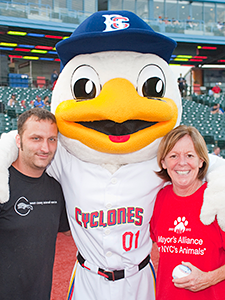 Sean Casey of Sean Casey Animal Rescue and Debbie Fierro, a driver for the Alliance's Wheels of Hope program, were honored by the Brooklyn Cyclones at this year's Bark in the Park for their tireless work to save and care for animals displaced by Superstorm Sandy. (Photo by Joe Galka)