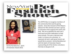 Alliance volunteer, Amrita Nandakumar, accepted the Spirit of Volunteer Award at the 2016 New York Pet Fashion show on behalf of all of those who generously give their time to support pet rescue.