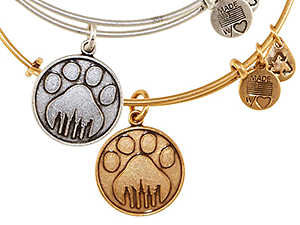 Stephanie's passion for animals and for fashion as a vehicle for self-expression led to the creation of this exclusive Alex and Ani charm bangle with the Alliance paw print logo.