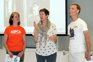 Kathleen O'Malley, Becky Robinson, and Mike Phillips present the first 'Trap-Neuter-Return (TNR) and Colony Care Workshop' at the ASPCA Midtown Offices on July 20, 2014. (Photo by Maureen Smith)