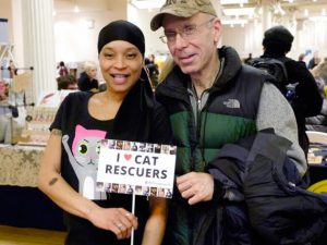 "Certified TNR Caretakers and stars of ""The Cat Rescuers"" documentary film, Latonya ""Sassee"" Walker and Stuart Siet, joined Kathleen O'Malley for the Q&A portion of her TNR presentation at Cat Camp NYC. (Photo by RobFruchtman)"