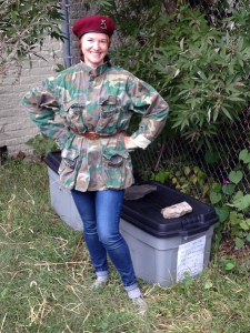 As a community cat caretaker, Kathleen O'Malley, who is also Director of TNR Education for the NYC Feral Cat Initiative, sets up winter shelters for her colony in New Jersey. (Photo by Kayt Hester)