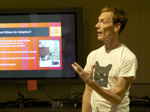 Mike Phillips teaches 'Taming Feral Kittens for Adoption' and other workshops for the NYC Feral Cat Initiative of the Mayor's Alliance for NYC's Animals. (Photo by Marc Birnbach)