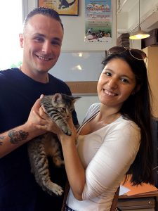 An NYPD officer from PSA2, Dustin Morrow, and his girlfriend, Alissa Field, adopted Keanu, who is now named Taco.