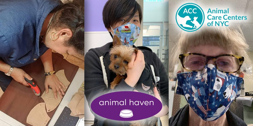 Kina Wu from Animal Haven and Diane Gauld from Animal Care Centers of NYC (ACC) model face masks made and donated by Ada Nieves.